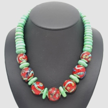 Turquoise Bubbles Series necklace - hollow beads with turquoise spacers #1586