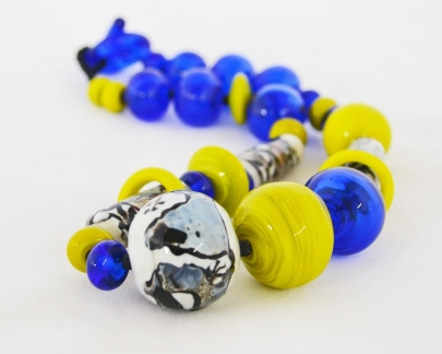 Intense Lime and Blue necklace - blown hollows #1978