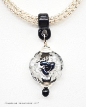 Black and Silver pendant on Sterling Silver Viking knit