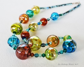 Carnival Series Silvered Glass Hollows Long necklace $180