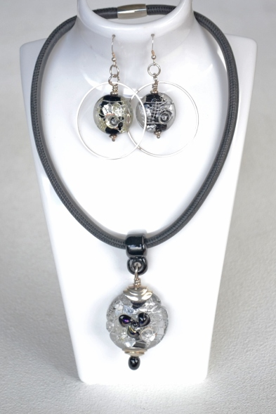 Black and Silver Series pendant and earrings #2022 #1841