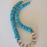 Turquoise and Silver hollows necklace #2214