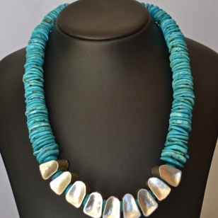 Turquoise and Silver hollows necklace