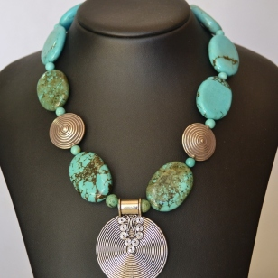 Turquoise and Silver medallion necklace