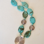 Turquoise and Silver medallion necklace #2215