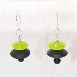 Forest Green and Black earrings #2100