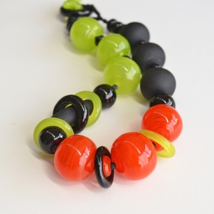 Forest Green and Tangerine necklace #2101