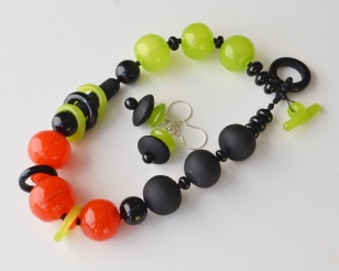 Forest Green and Tangerine necklace and earrings #2101