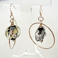 Black and Silver earrings in a silver setting