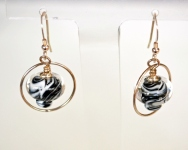 Black and White earrings in a silver setting