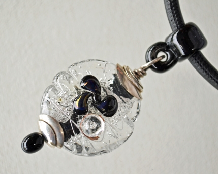 Black and Silver Pendant on Sewn Leather cord with a Magnetic Clasp